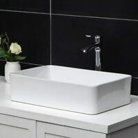 Bathroom Basin Vessel Sink Ceramic White Rectangle Vanity Counter Top Wash Sink