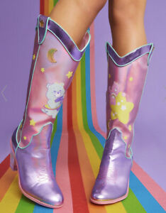 New Care Bears X Dolls Kill Cowboy Boots Size 8 Holographic Magical Moon Pink