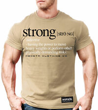 Monsta Clothing Word Strong Definition Bodybuilding Crossfit Shirt: Military Tan
