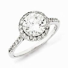 Cheryl M Sterling Silver Cubic Zirconia Round Ring Size 6 #1165