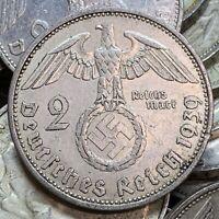 WW2 Nazi Germany 2 Reichsmark Hindenburg Silver Swastika Coin Buy 3 Get 1 Free