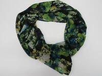 NEW Susan Graver Sheer Printed Floral Infinity Eternity Scarf Black Blue Green