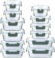 24-Piece Superior Glass Food Storage Containers Tupperware BPA-Free Locking Lids
