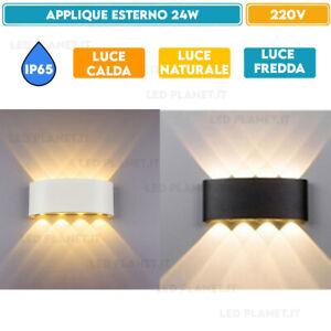 PLAFONIERA LED ESTERNO DOPPIA LUCE IP65 A PARETE MURO 24W LAMPADA APPLIQUE 8 LED