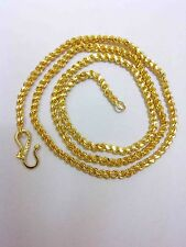22k 24K Gold Yellow Solid gp Jewelry 3mm harness rope Unisex Chain Necklace 22""