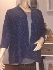 Charter Club Womens Sweater Blue 3X Plus Ribbed Knit Cardigan Open Front