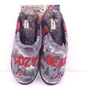 Dearforms Mens Size 11-12 Gray Cozy Bear Memory Foam Comfort Slip On Slippers