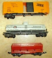 3Pcs.  HO Scale Train Cars Tanker, Freight, and Rock Side Dumper, need work.