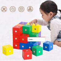 Magnetische Bausteine Holzwürfel 10 Stück Bauklötze Steine Lernspielzeug