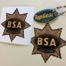 BSA GOLD STAR Classic Motorcycle Vintage Style Retro Stickers Decals 80mm  2 off