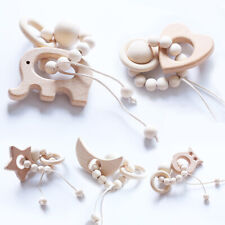 Baby Teething Elephant Rattles Stroller Toys Round Beads Natural Wood Bracelet