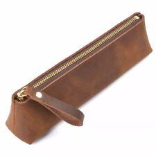 Pen Pouch, Pencil Bag Vintage Brown Genuine Leather Handmade Planner Pen Case