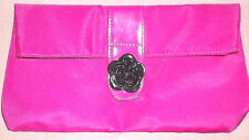 NEW LANCOME FUCHSIA PINK W/BLACK ROSE WATERPROOF MAKEUP BAG