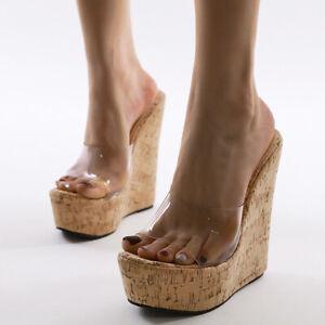 Women Platform Wedges Slippers Clear Pvc Transparent High Heels Peep Toe Sandals