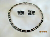 Margo de Taxco Sterling Silver Necklace  ER's Black Enamel Mexican  Vintage