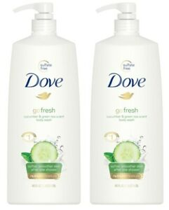2x Dove Go Fresh Body Wash Cucumber & Green Tea Scent Shower Gel Softer 40ozEACH