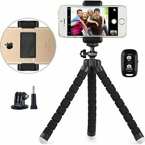 Phone Tripod, Portable and Adjustable Camera Stand Holder with Wireless Remote