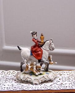Vintage Olzewski Hunts with Hounds Staffordshire Statue Dollhouse Miniature 1:12