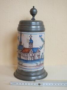 Herrlicher alter Krug aus Sammlernachlass - datiert 1802 - Motiv : Kirche