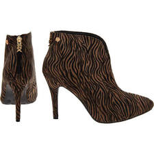 Leather Animal Print Zip Boots for Women