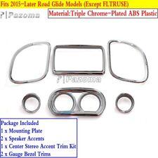 Motorcycle Dash Gauge Radio Trim Kit Cover For Harley Road Glide 15-17 Chrome