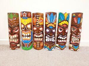 Tiki Mask 50cm Hand Carved Painted Fair Trade Tribal Bar Home Garden Decor