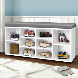 Artiss Fabric Shoe Bench with Storage Cubes - White Rack Organiser FAST SHIPPING