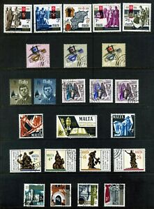 MALTA 1966 - 67 COMMEMORATIVES : 7 SETS 24 STAMPS FINE USED