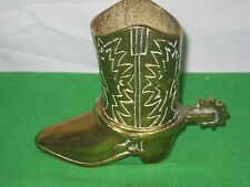 Vintage Solid Brass Cowboy Boot with Spur Vase Match Holder Planter