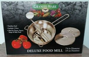 Never Been Used Granite Ware Stainless Steel Deluxe Food Mill 3 Discs 2 Qt
