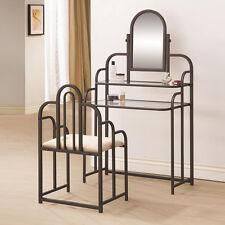 Traditional Brown Metal Vanity Makeup Set Glass Top 2 Shelves Fabric Seat Stool