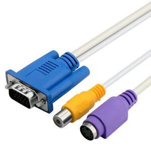 Cable VGA Macho a RCA S-Video Proyector Video Compuesto - Adaptador