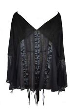 Dark Star Blouse Black Lace and Poly Silk Material. Size 14