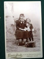 Two Children - antique Portland Oregon Davies Studio photograph