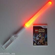 LEGO STAR WARS THE COMPLETE SAGA (Wii) &U =EPISODES 1-6 +RED GLOW-UP LIGHT SABER