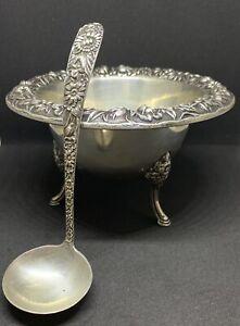 STERLING Silver ANTIQUE Repousse Sauce Bowl Ladle S. Kirk & Sons 1900 Model 207