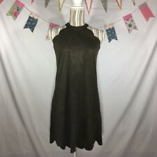 32993430 Olivaceous Army Green Faux Suede Sleeveless Tunic Scallop Edge Mini Dress  Size S