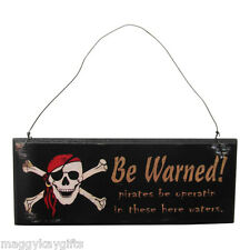 Wooden Pirate -  Skull & Crossbones - Boys Bedroom Hanging Wall Door Plaque Sign