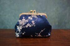 Handsewn Cute Prom Clutch Silk Brocade Mini Coin Purse Kiss Lock Shoulder Bag