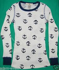 TWENTY ONE ANCHORS AWAY LONG SLEEVE THERMO TOP WHITE w/ BLUE ANCHORS SIZE MEDIUM