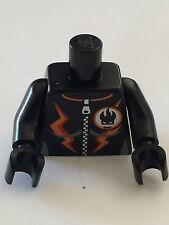 *NEW* 1 Lego Minifig RACER BLACK Torso AGENT VILLAIN Orange Stripes Zipper