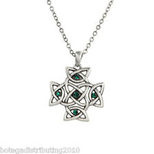 """Celtic Cross Necklace Silver Lead Free Pewter 5 Green Stone 1 1/2"""" Jewelry"""