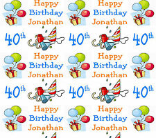 Personalised Birthday Wrapping Paper 40th Any Age V2