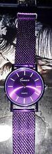 Reloj de pulsera púrpura elegante con batería para su comodidad