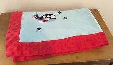 Blossoms And Buds Transportation Embroidered Minky Dot Blanket Airplane Blue Red