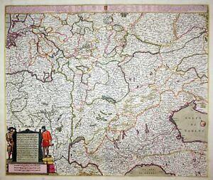 1671 Italy Italia Nederland Germany Austria Luxemburg Italien Wit Karte map