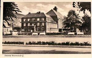 Foto-AK WESERMÜNDE-GEESTEMÜNDE /BREMERHAVEN Bahnhof Straße Bänke 30er