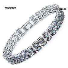 Diamantes Negro Plata Pulsera de tenis mujer regalos para su esposa novia J656