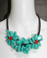 NAKAMOL SIMULATED TURQUOISE FLOWERS WITH RED BEAD CENTERS ON BLACK CORD