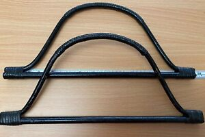 Pair (2) Black Cane, Bell Shaped Bag  Handles for Knitting or Sewing
